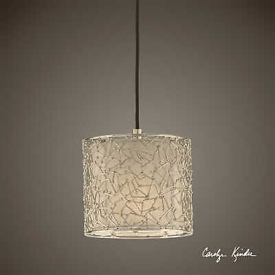 Contemporary Abstract Silver Nickel 1 Light Hanging Shade Mini Pendant