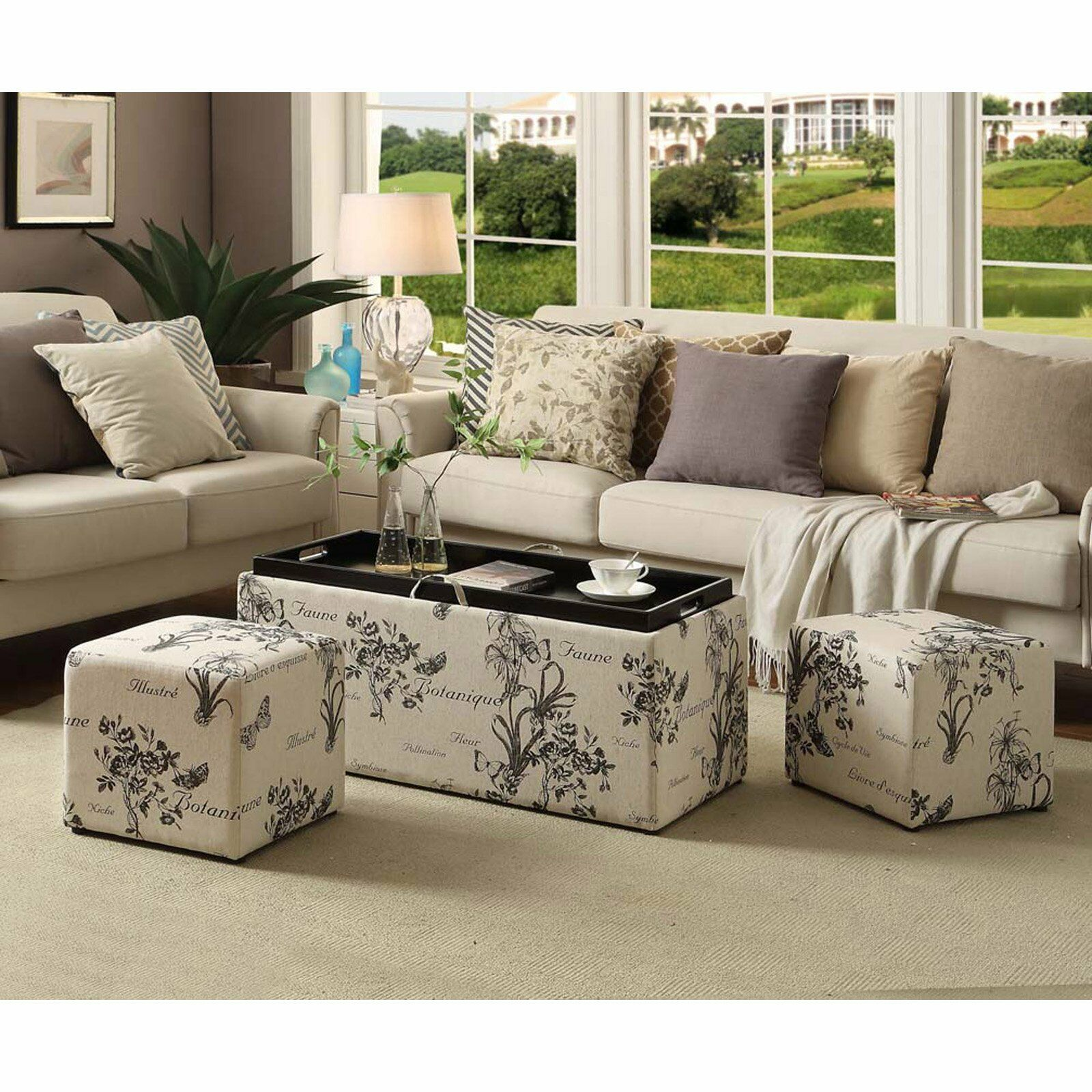3pc Beige Floral Script Cocktail Ottoman Coffee Table w/ Tra
