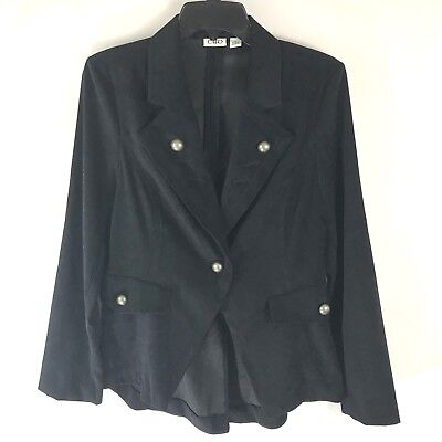 CATO Womens Military Black Blazer Jacket Long Sleeves Tail Silver Buttons   - Long Tail Jacket