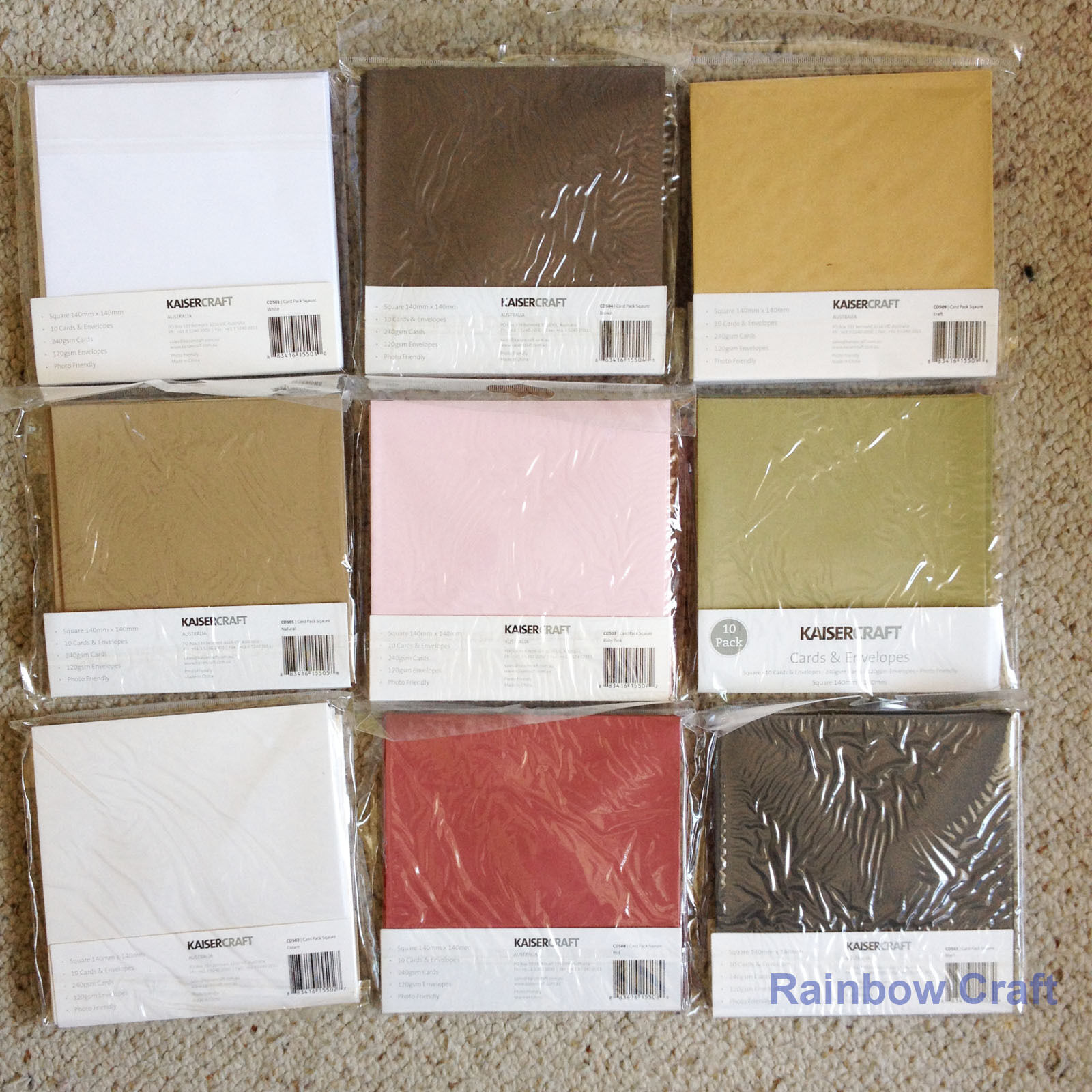 Kaisercraft 10 blank Cards & Envelopes Square / C6 size (12 selections)