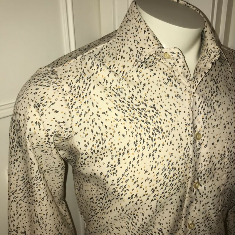 Vtg 60s 70s SEARS Kings Road Mens MEDIUM Ugly Floral Print Disco POLYESTER shirt