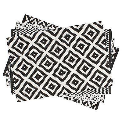 Muster 100% Baumwolle (Teppich Geometrische Muster 80 x 120 cm / Läufer, Schwarz, Weiß, 100% Baumwolle)