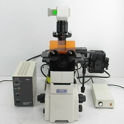 Nikon Eclipse Te2000-s Fluorescence Phase Contrast Microscope With Objective Set