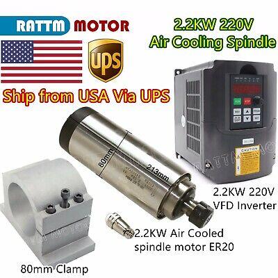 Us2.2kw 220v Er20 Air Cooled Spindle Motor Cnc Millhy Inverter Vfd80mm Clamp
