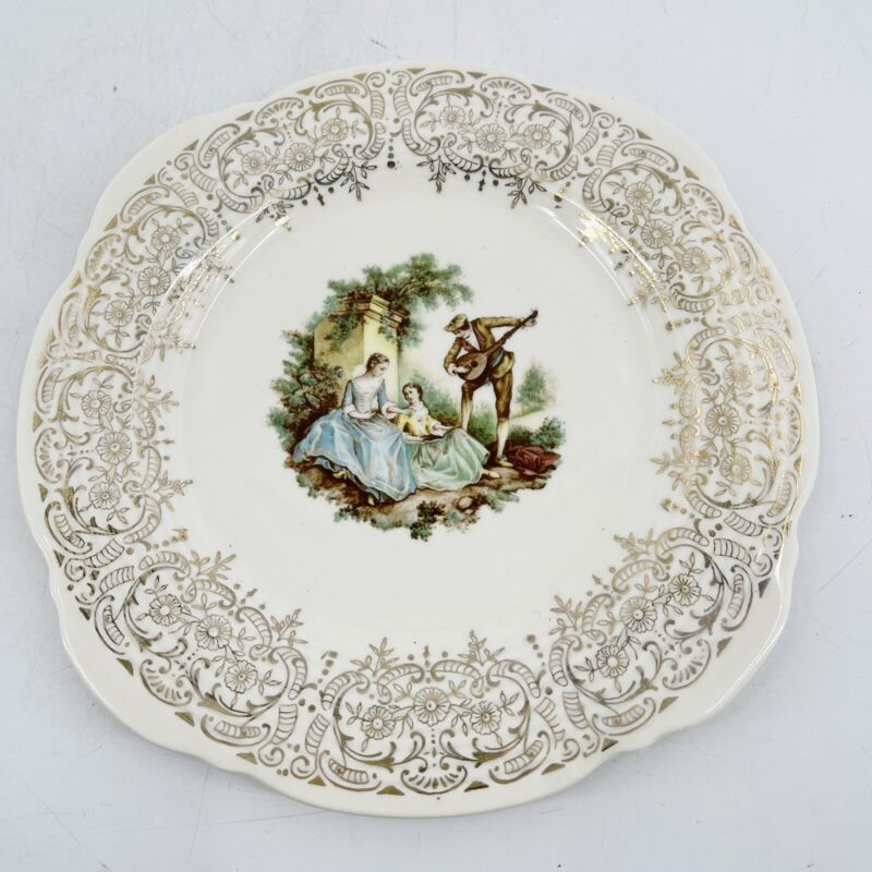 """Vintage Limoges Triumph USA Serenade China 22K gold Scalloped Edge Plate 7.5"""""""