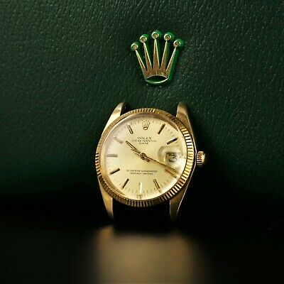 Vintage Men's 30mm Rolex 14k Solid Gold Oyster Perpetual Date Watch -BBR1834