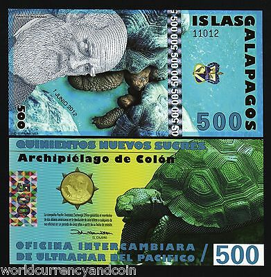 GALAPAGOS 500 NEW 2009-2012 TURTLE UNC POLYMER 10 PCS BILL FUN MONEY LOT ECUADOR, used for sale  Shipping to Canada