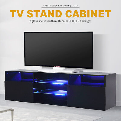 2 Drawers Diabolical High Gloss LED TV Stand Unit Cabinet Shelf Console Furniture