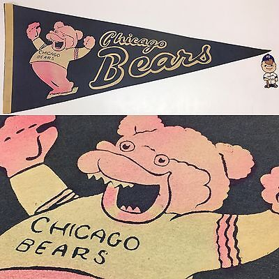 1960's Chicago Bears Illinois NFL Football Full Size Pennant Flat Ship 12x30