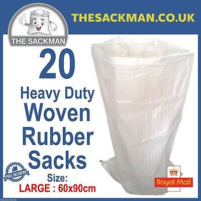 20 White Woven Polypropylene Sacks Heavy Duty LARGE SIZE 60cmx90cms Strong Bags
