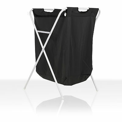 Foldable Black Laundry Basket Washing Bag Metal Framed Large Capacity Storage