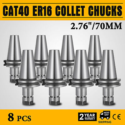 8pcs 2.76 Cat40-er16 Collet Chucks Tool Holder Set Cnc Tested Free Shipping
