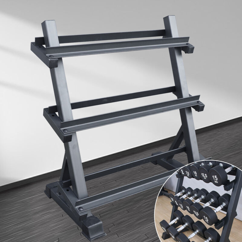 3 Tier Dumbbell Weight Storage Rack Adjustable Metal Stand Home Gym Fitness Hot!