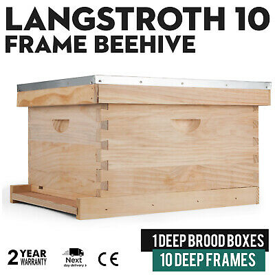 Langstroth 10-frame Bee Hive 1 Deep Complete Box With 10 Deep Frames Beekeeping