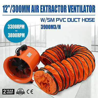 12 Extractor Fan Blower Portable 5m Duct Hose Fume Ventilator Industrial Exhaus