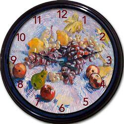Van Gogh Fruit Wall Clock Lemon Grapes Pears Apples New 10