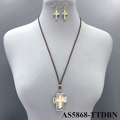 Long Brown Leather Chain Gold Silver Hammered Cross Pendant Pearl Charm Necklace