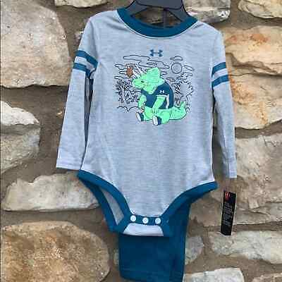 Under Armour 2 piece set 6-9 months, dinosaur, gray & teal NWT