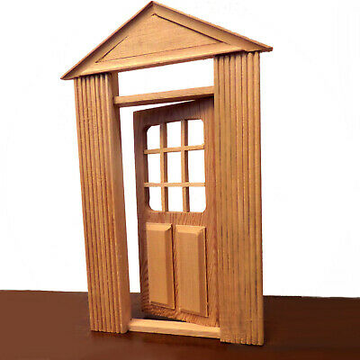 NEW Solid Wood Panelled Opening DOLLHOUSE DOOR W/ Windows NEW In Box  - $3.49
