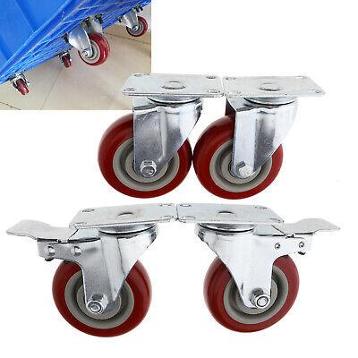 4pcs Heavy Duty 380kg 4 Pu Swivel Castor Wheels Furniture Trolley Caster Set