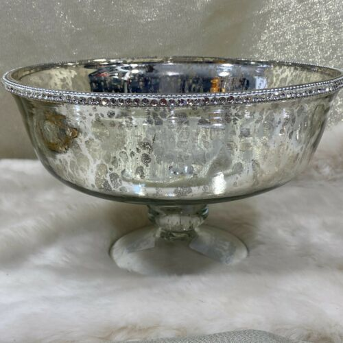 Antique  Mercury Silver Footed Glass Bowl Rhinestones Trim Centerpiece Holiday