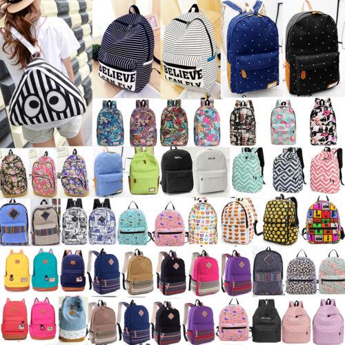 Men Women Matured Canvas Backpack Rucksack School Satchel Travel Hiking Book Bag