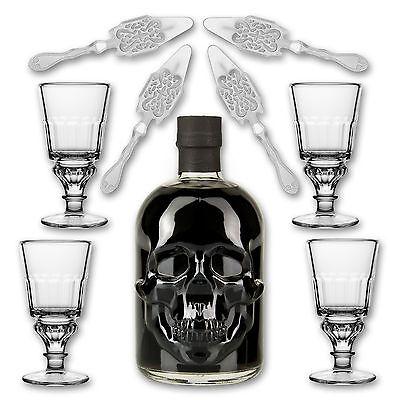 Black Head Absinthe + 4x Absinth Glas Pontarlier + 4x Absinth Löffel Antique