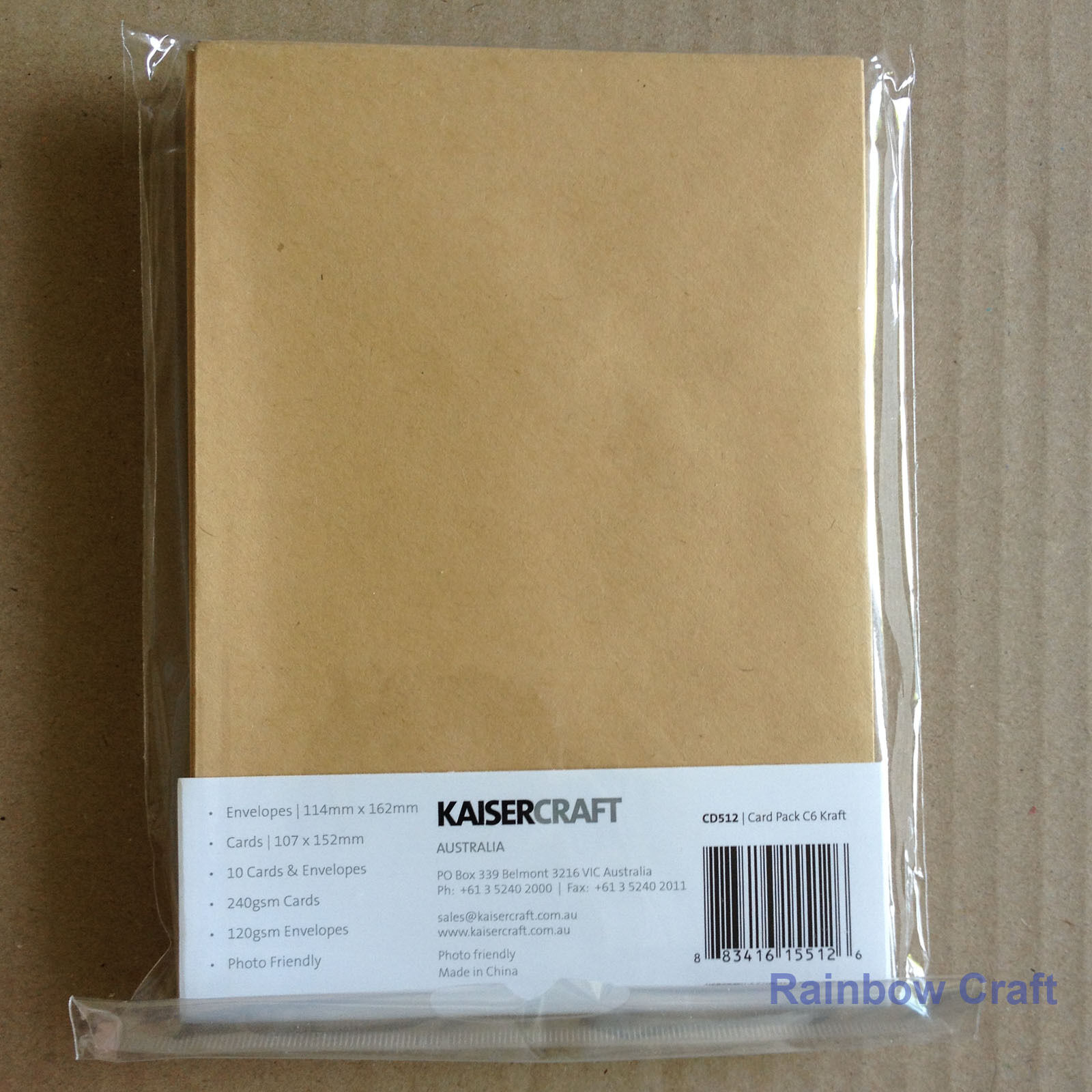 Kaisercraft 10 blank Cards and Envelopes 240gsm 107 *155 mm (3 colors selection) - Kraft