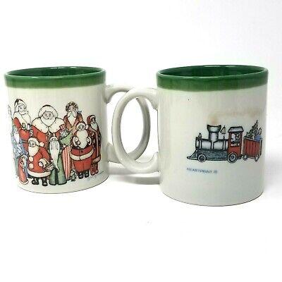 Otagiri Set of 2 Christmas Santa mugs embossed santas polar express train Japan