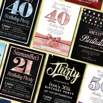 40th Birthday Party Invitations (Birthday Invitations 18th 21st 30th 40th 50th 60th - Personalised Party Invites)