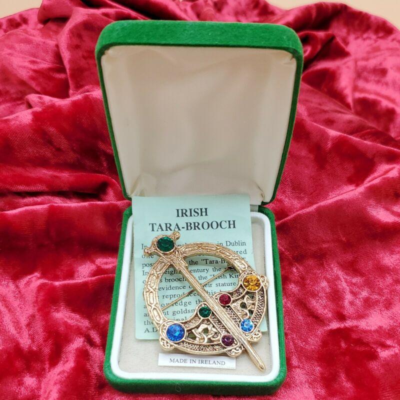 Irish Celtic Tara-Brooch Pin Multi-color Rhinestone Goldtone Made in Ireland Vtg