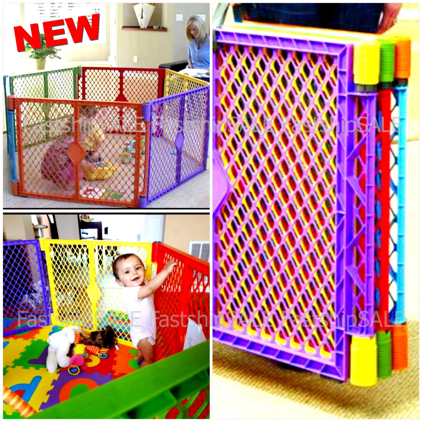 Indoor Outdoor Baby Safety Play Center Playpen Kids Panel Yard