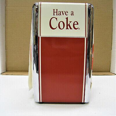 Vintage 1992 Have A Coke Coca Cola Metal Napkin Holder Dispenser With Napkins