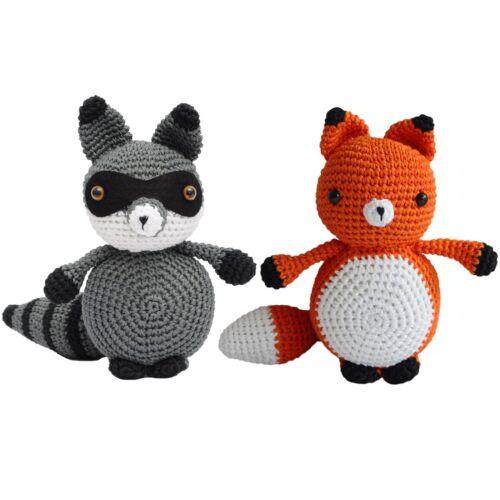 Hand Knitted Large Raccoon or Fox Handmade Amigurumi Stuffed Toy Crochet Doll