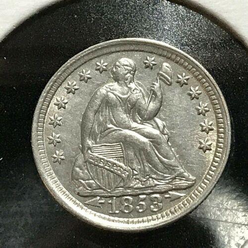 1853 W/ARROWS SILVER SEATED HALF DIME NEAR UNCIRCULATED COIN