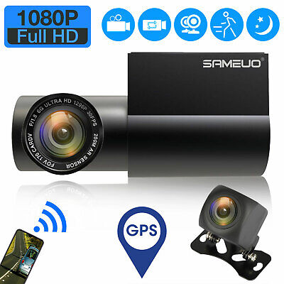 GPS G-Sensor Car Camera Dual Dash Cam Front & Rear Night Vision 170 Angle WIFI