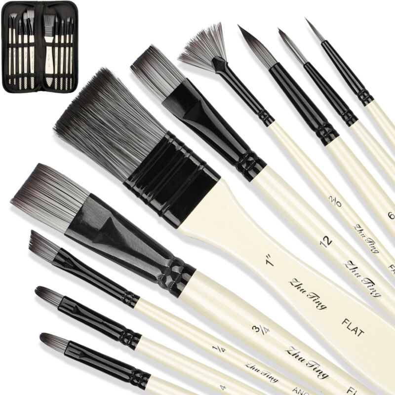 10Pcs Artist Paint Brushes+Carrying Case Set for Watercolor Acrylic Oil Painting