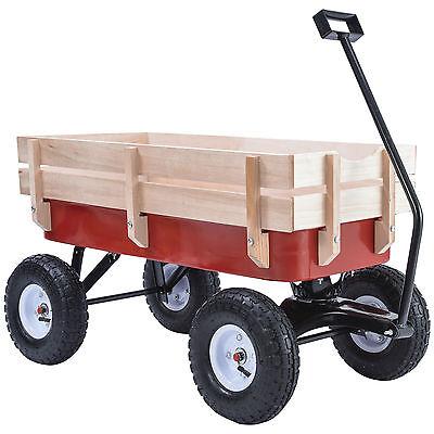 330LB ALL Terrain Pulling Outdoor Wood Wagon Garden Cart Children Red Railing