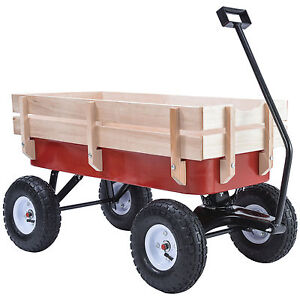 BN 330LB ALL Terrain Pulling Outdoor Wood Wagon Garden Cart Children Red Railing