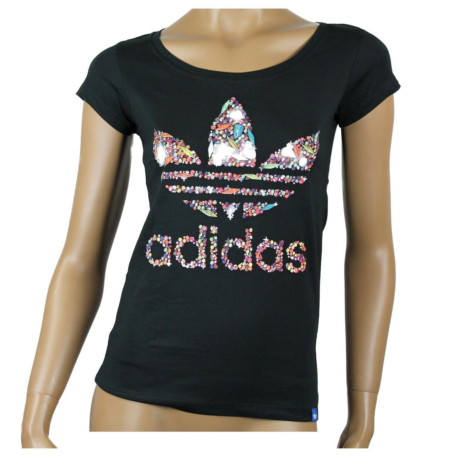 adidas Originals Damen T-Shirt schwarz Strasssteine