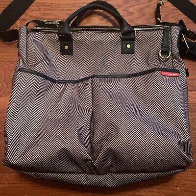 Skip hop diaper bag black white herringbone satchel