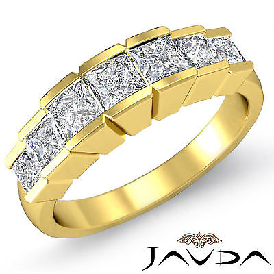 Princess Square Channel Diamond Womens Wedding Ring in 14k Yellow Gold Band 1Ct