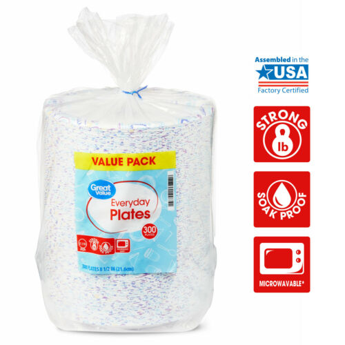 """Great Value Everyday Paper Plates, 8 5/8"""", 300 Count, SEALED ITEM!!"""