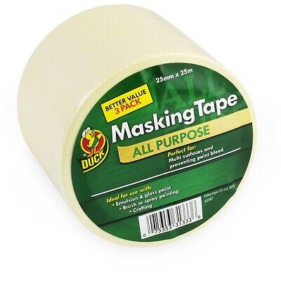 Duck Tape All Purpose Masking Tape - 25mm X 25m - Cream - Pack Of 3 Rolls