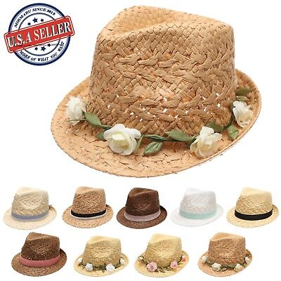 MIRMARU Women's Summer Beach Trilby Style Sun Straw Fedora Hat With Bow - Women's Straw Beach Hats