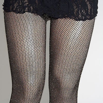 (PARTY PLUS GOLD LUREX SPARKLE GLITTER FISHNET TIGHTS 1/2  3/4  COLLANT COUTURE)