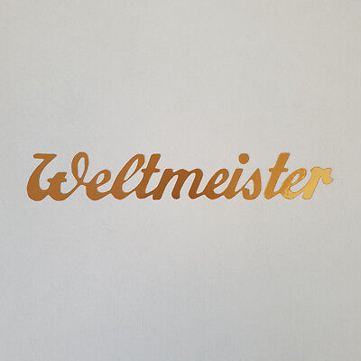 Aufkleber * BAUER Weltmeister * gold * Sticker * Logo * Oldtimer * Fahrrad *