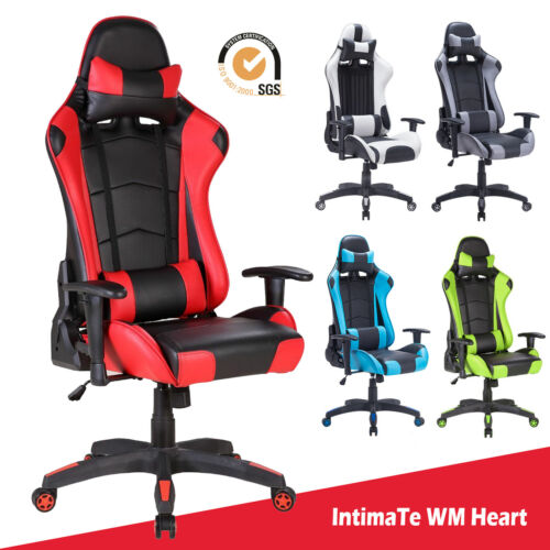 Computer Games - Executive Racing Gaming Computer Office Chair Adjustable Swivel Recliner Leather