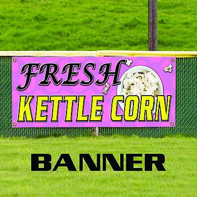 Fresh Kettle Corn Caramel Popcorn Hot Buttered Advertising Vinyl Banner Sign
