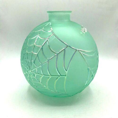 Vintage Artisan Art Glass Vase Round Spiderweb Spider Halloween Blue Aqua Large